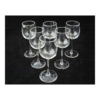 Set 6 Val St. Lambert Cordials Signed Crystal - c. 20th Century, Belgium