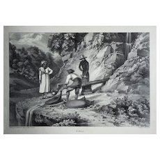 Anglo-Indian Lithograph Simla a. John Luard  - 19th Century,  London