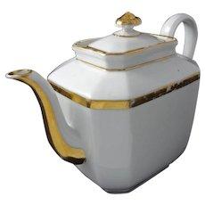 Early Old Paris Set Tea Pot and Sugar Bowl White Gilt Porcelain - c. 19th Century, France