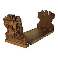 Black Forest Book Stand Expanding Hand-Carved Wood Bookends Shelf