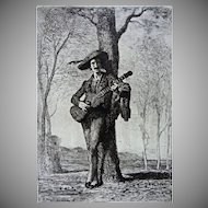French Troubadour Etching Signed A. Feyen Perrin Oak Frame - 19th Century, France