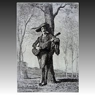 French Troubadour Etching Signed A. Feyen Perrin Oak Frame - 19th Century, France