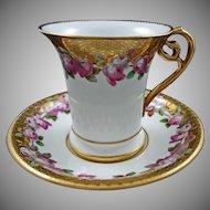 Antique Minton Porcelain Cabinet Cup and Saucer  - 1873-1912, England