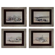 Set 4 Arabian Theme Lithographs Signed David Roberts R. A.