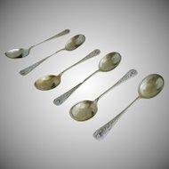 Set 6 Thistle Bouillon Spoons Marked ESPN - c. 1900's, Great Britain