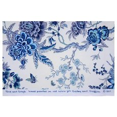 "1.4 yds / 52"" Luxury Bailey & Griffin Chintz Cotton Fabric Bird and Bough Blue / Indigo / White - copyright 1964, England"