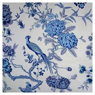Last Five Yards of Luxury Bailey & Griffin Cotton Chintz Fabric Bird and Bough Blue / Indigo / White - copyright 1964, England
