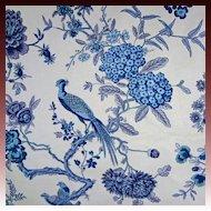 5 yds Vintage Luxury Bailey & Griffin Cotton Chintz Fabric Bird and Bough Blue / Indigo / White - copyright 1964, England
