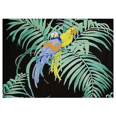 "2 1/2 yds Parrot Schumacher Fabric Screen Print ""Our Crowd"" Luxury Designer Vintage"