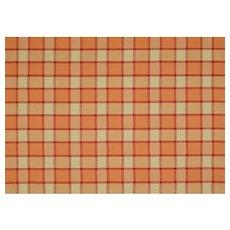 3.4 yds Plaid Fabric Coral Orange Khaki Squares Upholstery Decorator Designer