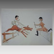 1950's Lithograph Tennis Equestrian Sports Color Lithograph signed Henkels MCM Mid Century Modern Americana - USA