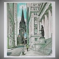 Original Limited Edition Wall Street Silkscreen / Serigraph Print Pencil Signed Ardis Hughes New York Manhattan - 20th Century, USA
