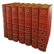 7 Volumes Days of the Dandies Morocco Leather Bound Gilt Edging - 19th Century, England