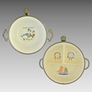 Two different Child Porcelain Bowl Warmers - c. 1930's, USA