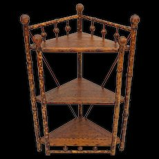 British Colonial Style Bamboo Stick and Ball Corner Etagere / Stand / Shelves - c. 1900's, England - Red Tag Sale Item