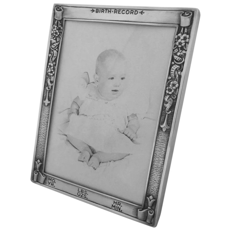 Sterling Silver Baby Birth Record Picture Frame Webster Co 20th