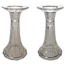 Pair Candlesticks Vases Faceted Crystal Glass Reversible