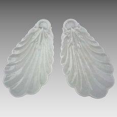 Pair Limoges Shell Shape Bowls White - 1888-1896, France