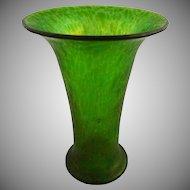 "7""H Green Loetz Cisele Art Glass Vase Classic Shape - c. 1899, Bohemia"