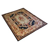"5'11"" x 4'1"" Aubusson Style Flat Weave Rug / Carpet Medium Size - c. 20th Century"