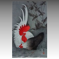 Japanese Woodblock Print Rooster and Hen after Koson signed - c. 1930's