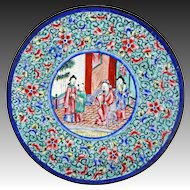 Chinese Canton Enamel Painting on Copper Rose Mandarin Dish