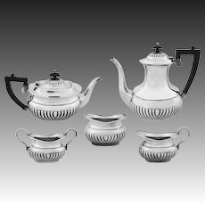 English Sheffield 5 Pc Set Coffee Tea Pot, Cream, Handled Sugar, Open Bowl, Ebonized Handles, Silverplate - 20th Century, England