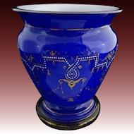 Large Blue White Cased Glass Urn Shape Vase Neo Classic Adam Style Enamel Gilt Decor