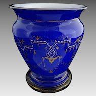 Large Blue White Cased Glass Urn Shape Vase Neo Classic Adam Style Enamel Gilt Decor