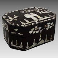 Chinese Papier Mache Mother of Pearl Octagonal Lidded Dresser Box