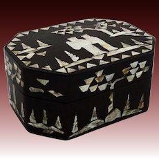 Chinese Papier Mache Mother of Pearl Octagonal Lidded Dresser Box