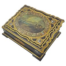 Antique Lap Desk Ecritoire Writer's Box Papier Mache Inlaid Mother of Pearl Writing Slope - 19th Century, England