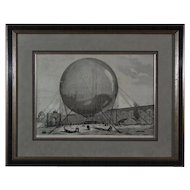 Hot Air Balloon Wood Engraving 1878 Paris World Fair - c. 19th Century, France