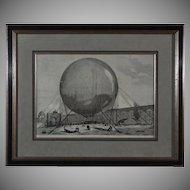 Hot Air Balloon Wood Engraving 1878 Paris World Fair - c. 19th Century, France