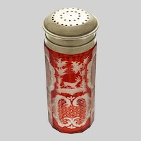 Bohemian Traditional Deer in Woods Motif Red Glass Sugar Caster Shaker Silver Plate Lid