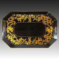 "Large 26 "" Octagonal Tole Handled  Tray Birds Black Gilt"