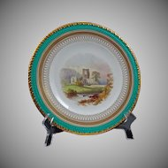 English Topographical Plate Kirkstall Abbey Gilt Turquoise Registry Mark - c. 19th Century, England