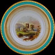 English Topographical Dessert Plate Adams Scrivener & Co. View of Kirkstall Abbey - 1867 Registry Mark, Longton, England