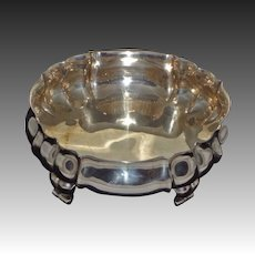 Antique Large Round Scalloped Footed Bowl / Centerpiece 800 Silver - late 19th/early 20th Century, Germany