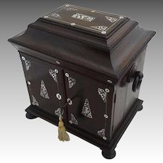 William IV Table Cabinet Compendium Rosewood Mother of Pearl - 19th Century, England