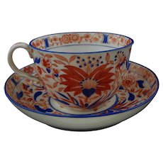 Imari Style Cup and Saucer Set Rust Blue