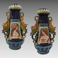 Pair Large Austrian Majolica Portrait Vases Winged Dragon Handles - c. 19th Century, Austria