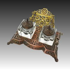 Antique Arts & Crafts Mixed Metal Double Inkstand, Inkwells, Pen Rests   - c. late 1800's