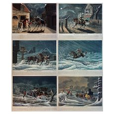 Set 6 Antique Aquatints The Express Extraordinary. by G. S. Tregear after Newhouse - 1839, London