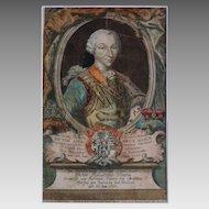 Antique Copper Engraving Victor Amadeus III of Sardinia - 18th Century, Germany