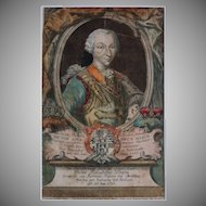 Antique Copper Engraving Victor Amadeus III of Sardinia - 18th Century, Germany