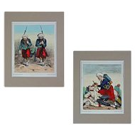 Pair French Satirical Crimean War Caricature Lithographs Zouave Elite Forces Jules J. A. Baric - c. 1859, France