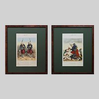 Pair Crimean War Caricature Lithographs Zouave Elite Forces Jules J. A. Baric Framed - c. 1859, France