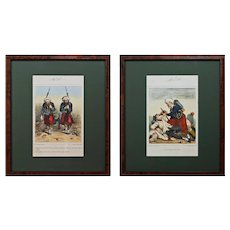 Pair Crimean War Caricature Lithographs Zouave Elite Forces Jules J. A. Baric Framed - c. 1859, France