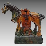 Chinese Horse Shape Sancai Roof Tile Figure Green and Ochre Glazed Pottery